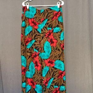 Pants - Tropical Print 100% Silk Wide Leg Pants Size Large